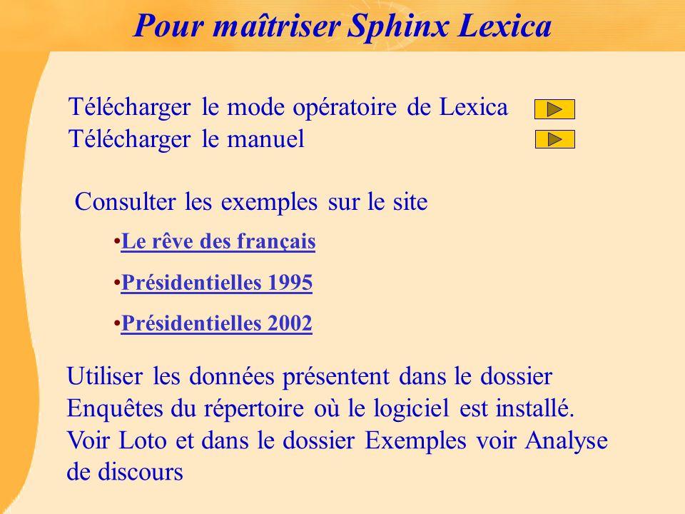 Pour maîtriser Sphinx Lexica Télécharger le mode opératoire de Lexica Télécharger le manuel Consulter les exemples sur le site Le rêve des français Pr