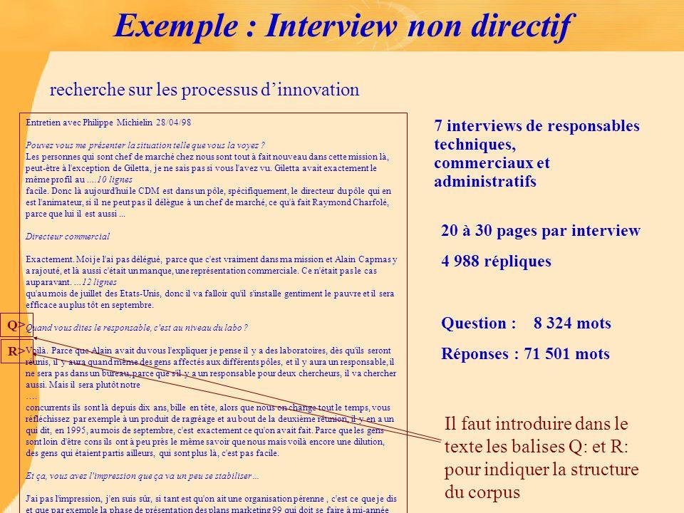 Exemple : Interview non directif 7 interviews de responsables techniques, commerciaux et administratifs 20 à 30 pages par interview 4 988 répliques Qu