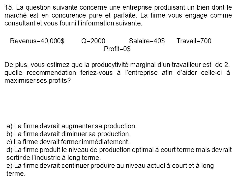 15. La question suivante concerne une entreprise produisant un bien dont le marché est en concurence pure et parfaite. La firme vous engage comme cons