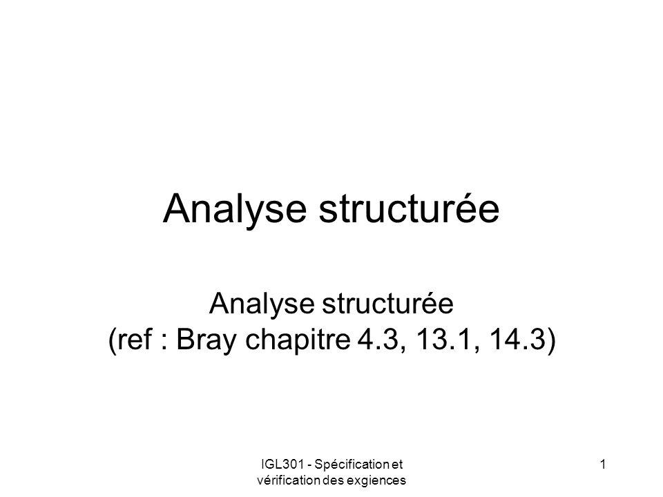 IGL301 - Spécification et vérification des exgiences 1 Analyse structurée Analyse structurée (ref : Bray chapitre 4.3, 13.1, 14.3)
