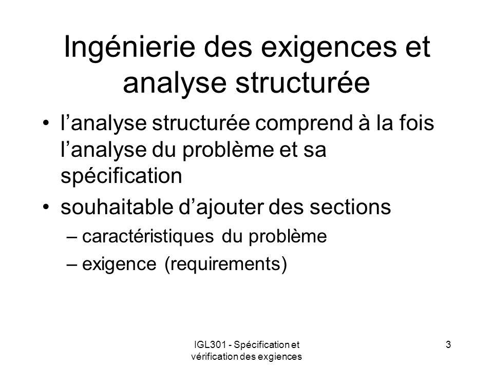 IGL301 - Spécification et vérification des exgiences 3 Ingénierie des exigences et analyse structurée lanalyse structurée comprend à la fois lanalyse