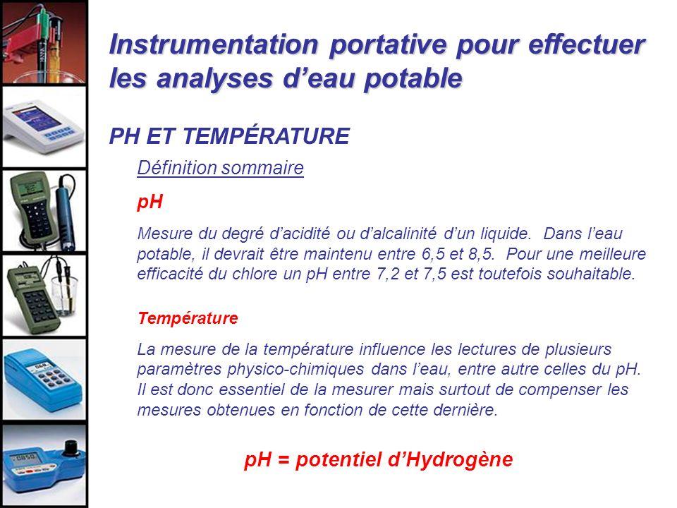 Instrumentation portative pour effectuer les analyses deau potable PH ET TEMPÉRATURE Définition sommaire pH Mesure du degré dacidité ou dalcalinité du