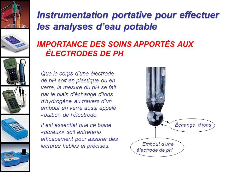 Instrumentation portative pour effectuer les analyses deau potable IMPORTANCE DES SOINS APPORTÉS AUX ÉLECTRODES DE PH Embout dune électrode de pH Que