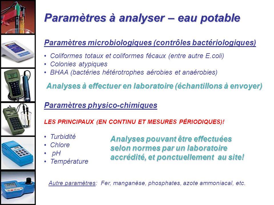 Paramètres à analyser – eau potable Paramètres microbiologiques (contrôles bactériologiques) Coliformes totaux et coliformes fécaux (entre autre E.col