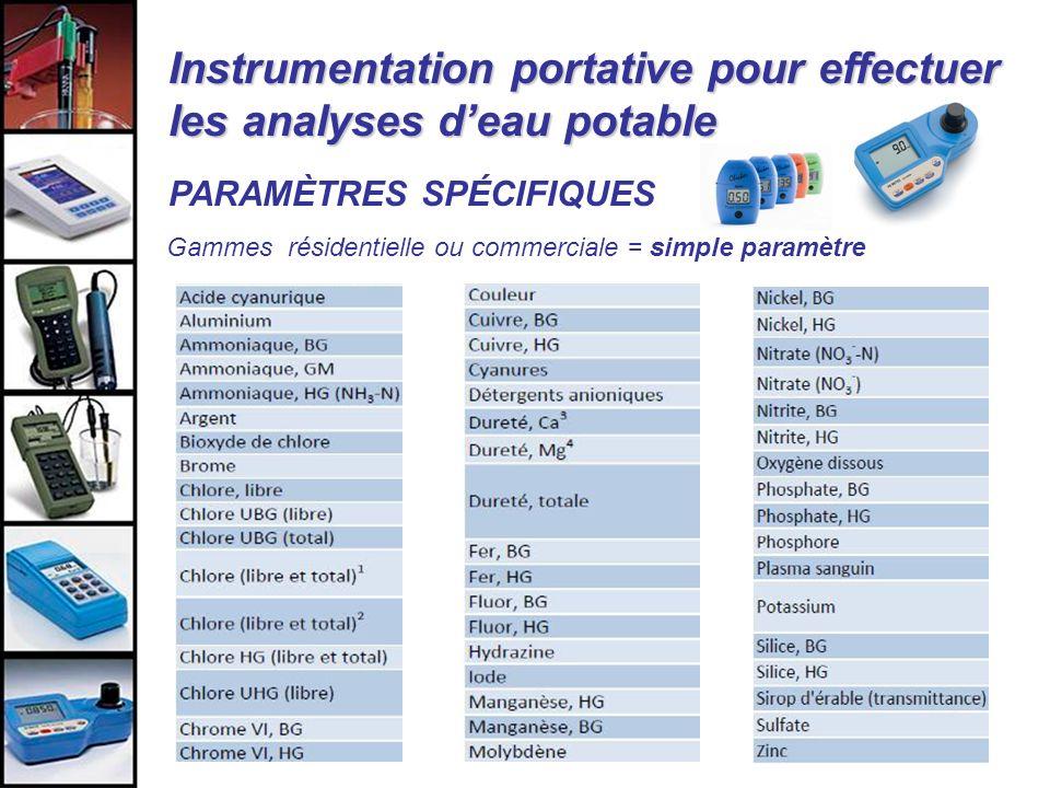 Instrumentation portative pour effectuer les analyses deau potable PARAMÈTRES SPÉCIFIQUES Gammes résidentielle ou commerciale = simple paramètre