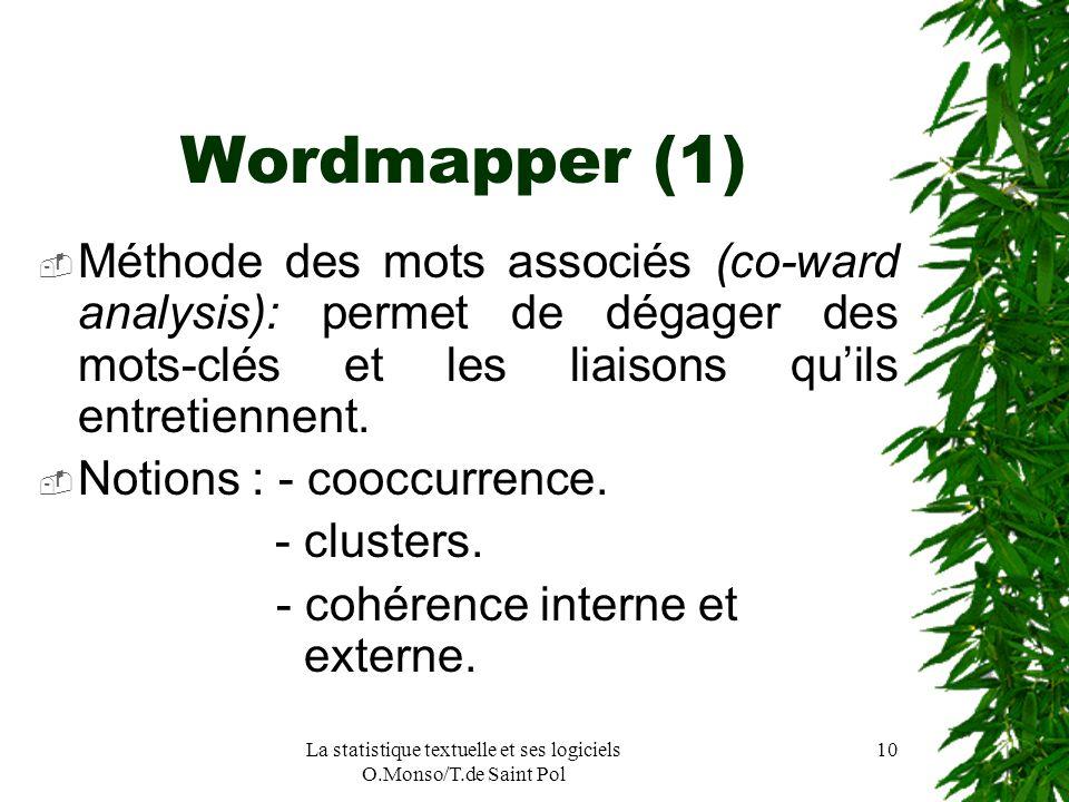 La statistique textuelle et ses logiciels O.Monso/T.de Saint Pol 10 Wordmapper (1) Méthode des mots associés (co-ward analysis): permet de dégager des