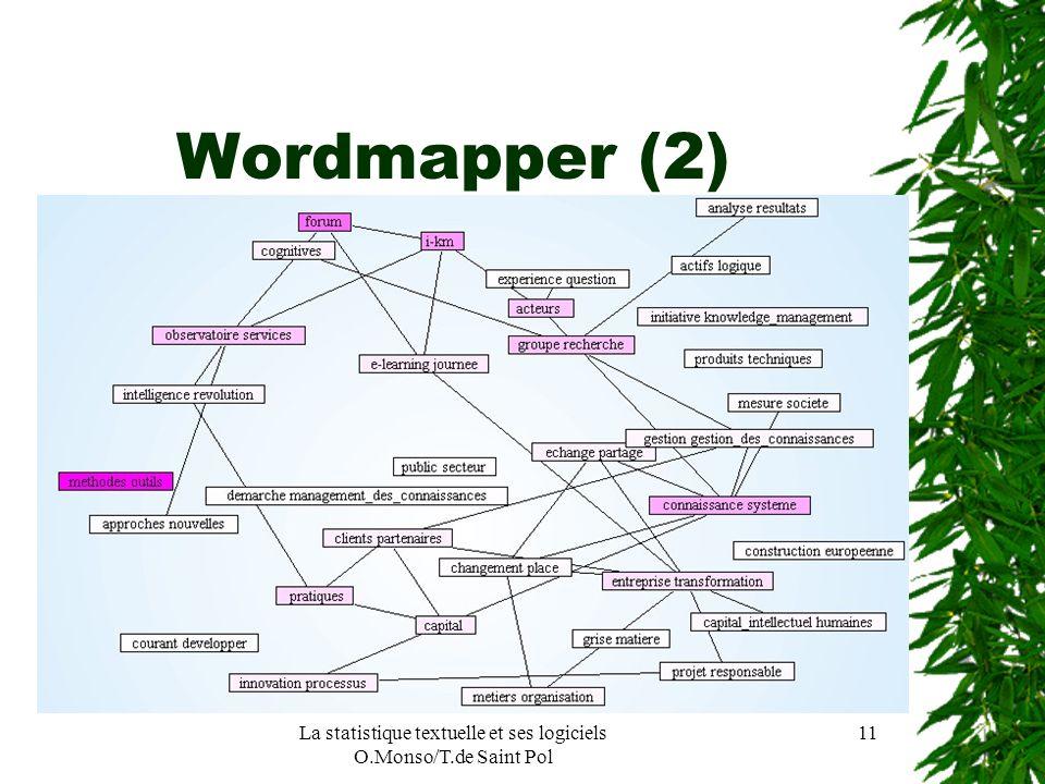 La statistique textuelle et ses logiciels O.Monso/T.de Saint Pol 11 Wordmapper (2)