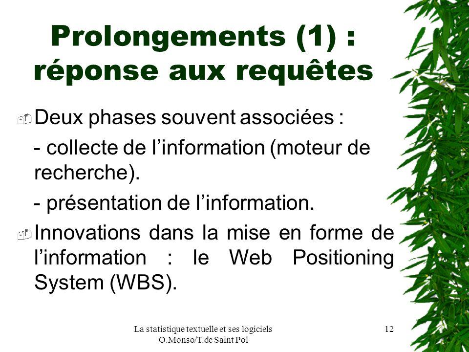La statistique textuelle et ses logiciels O.Monso/T.de Saint Pol 12 Prolongements (1) : réponse aux requêtes Deux phases souvent associées : - collect