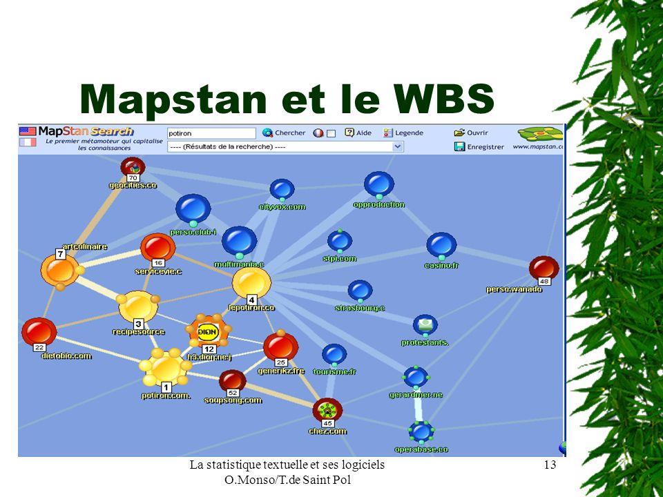 La statistique textuelle et ses logiciels O.Monso/T.de Saint Pol 13 Mapstan et le WBS