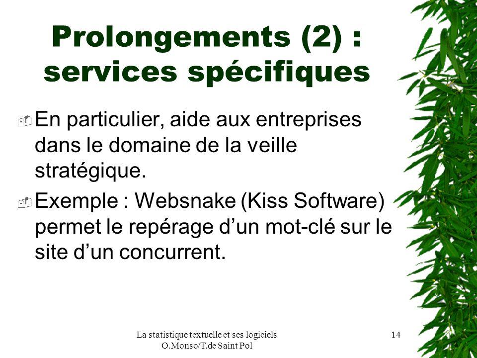 La statistique textuelle et ses logiciels O.Monso/T.de Saint Pol 14 Prolongements (2) : services spécifiques En particulier, aide aux entreprises dans