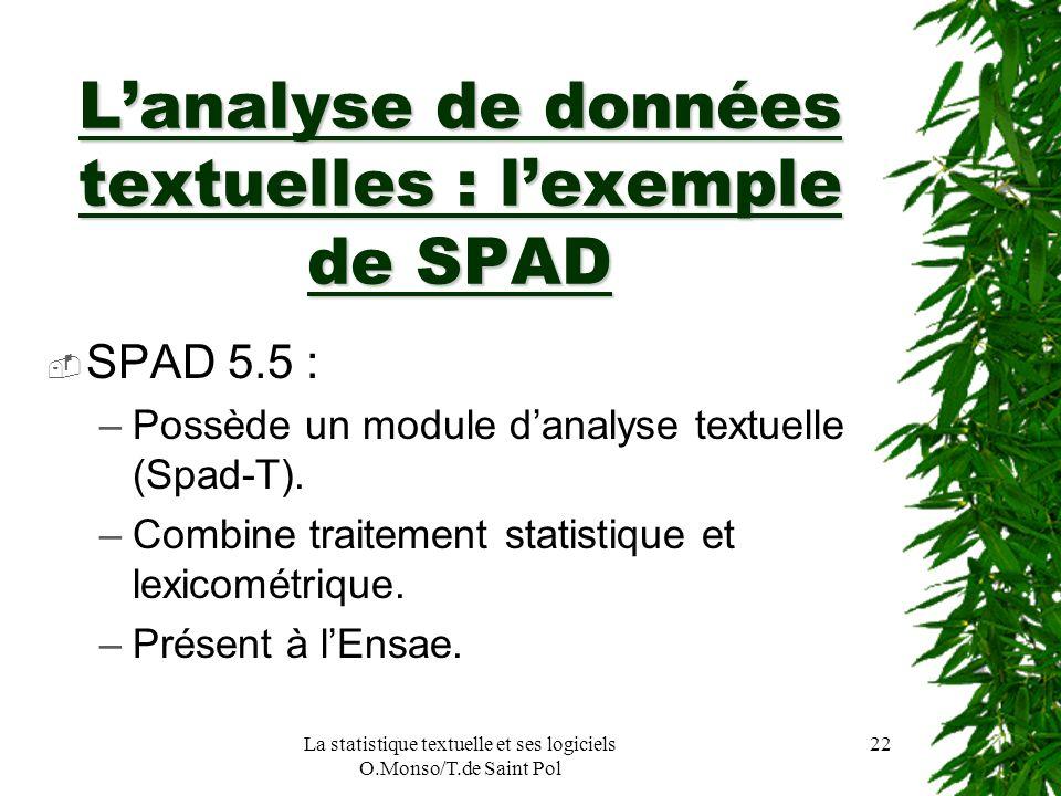 La statistique textuelle et ses logiciels O.Monso/T.de Saint Pol 22 Lanalyse de données textuelles : lexemple de SPAD SPAD 5.5 : –Possède un module da