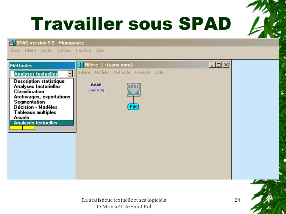 La statistique textuelle et ses logiciels O.Monso/T.de Saint Pol 24 Travailler sous SPAD