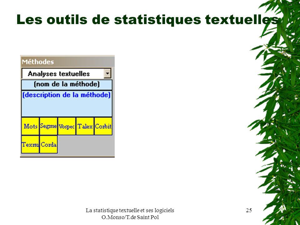 La statistique textuelle et ses logiciels O.Monso/T.de Saint Pol 25 Les outils de statistiques textuelles