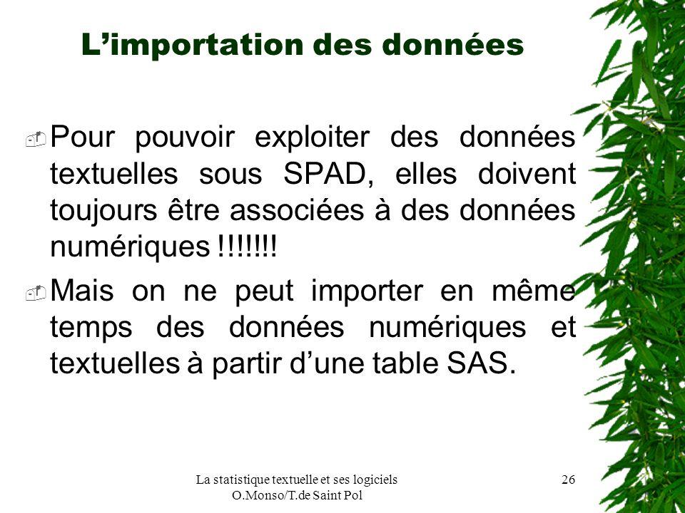 La statistique textuelle et ses logiciels O.Monso/T.de Saint Pol 26 Limportation des données Pour pouvoir exploiter des données textuelles sous SPAD,