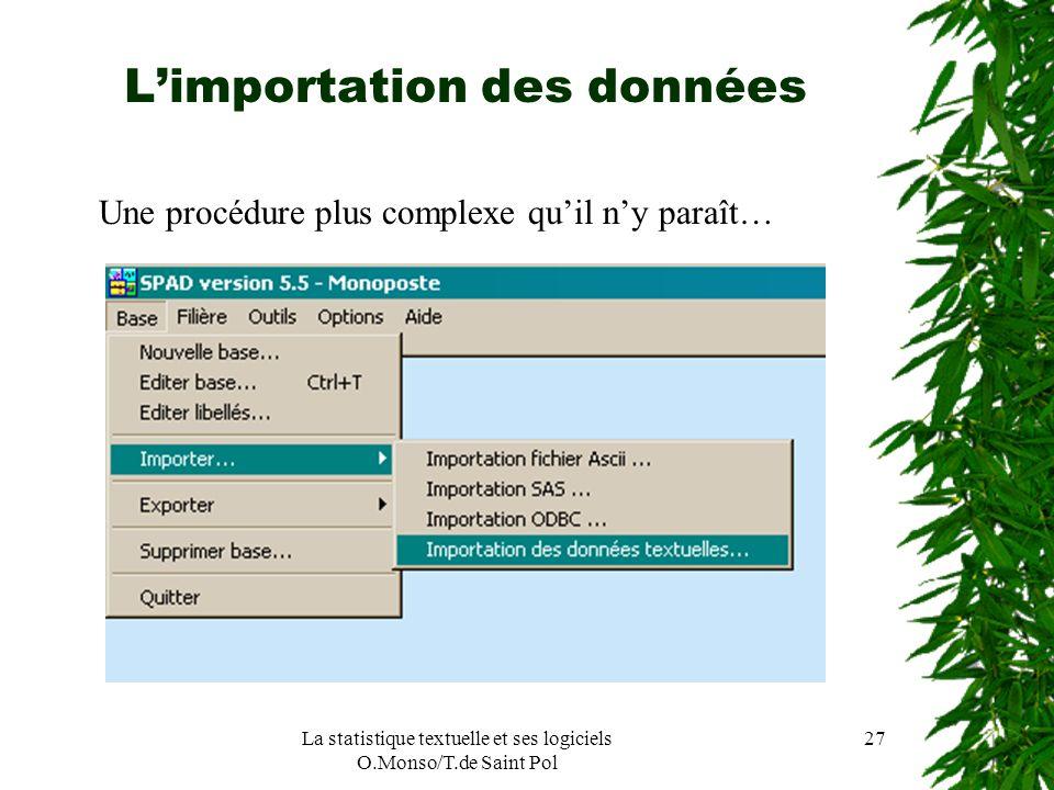 La statistique textuelle et ses logiciels O.Monso/T.de Saint Pol 27 Limportation des données Une procédure plus complexe quil ny paraît…