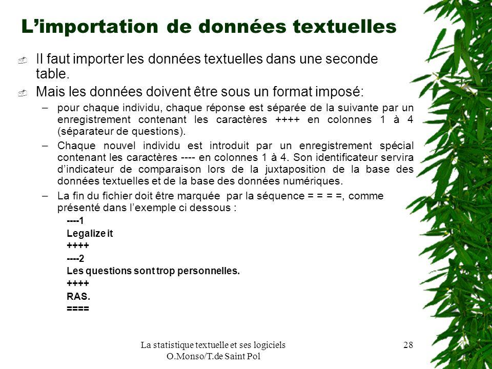 La statistique textuelle et ses logiciels O.Monso/T.de Saint Pol 28 Limportation de données textuelles Il faut importer les données textuelles dans un