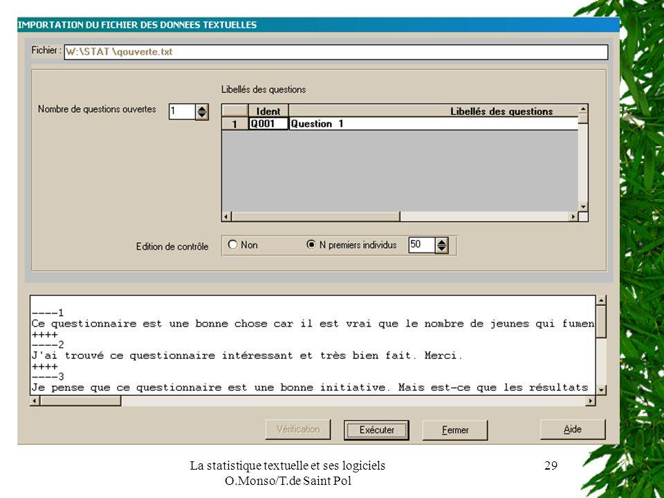 La statistique textuelle et ses logiciels O.Monso/T.de Saint Pol 29