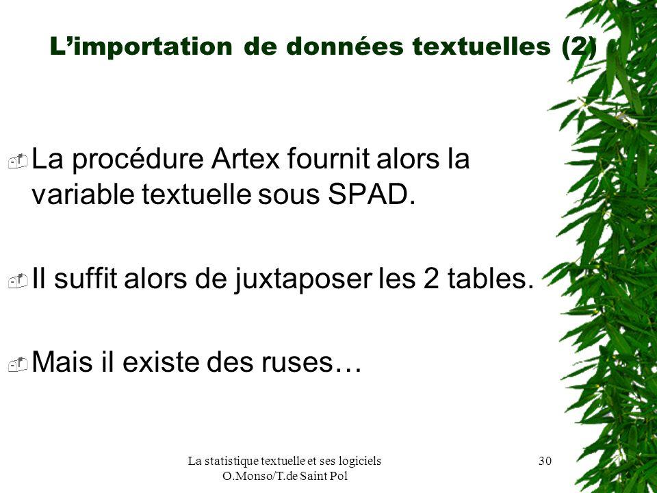 La statistique textuelle et ses logiciels O.Monso/T.de Saint Pol 30 Limportation de données textuelles (2) La procédure Artex fournit alors la variabl