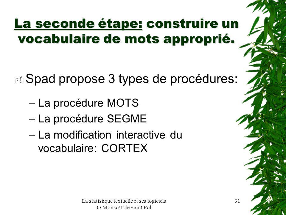 La statistique textuelle et ses logiciels O.Monso/T.de Saint Pol 31 La seconde étape: construire un vocabulaire de mots approprié. Spad propose 3 type