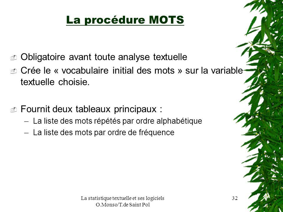 La statistique textuelle et ses logiciels O.Monso/T.de Saint Pol 32 La procédure MOTS Obligatoire avant toute analyse textuelle Crée le « vocabulaire