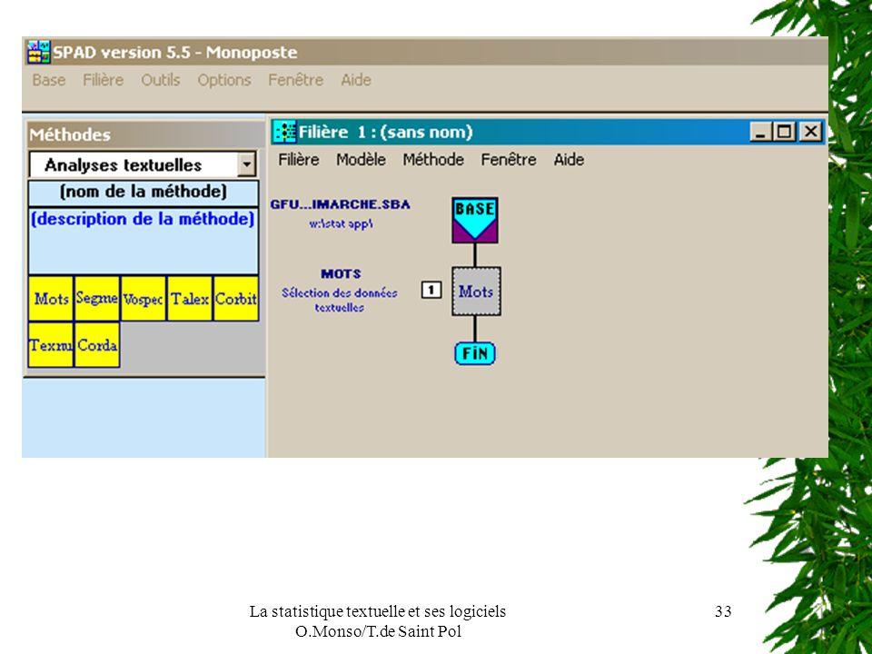 La statistique textuelle et ses logiciels O.Monso/T.de Saint Pol 33