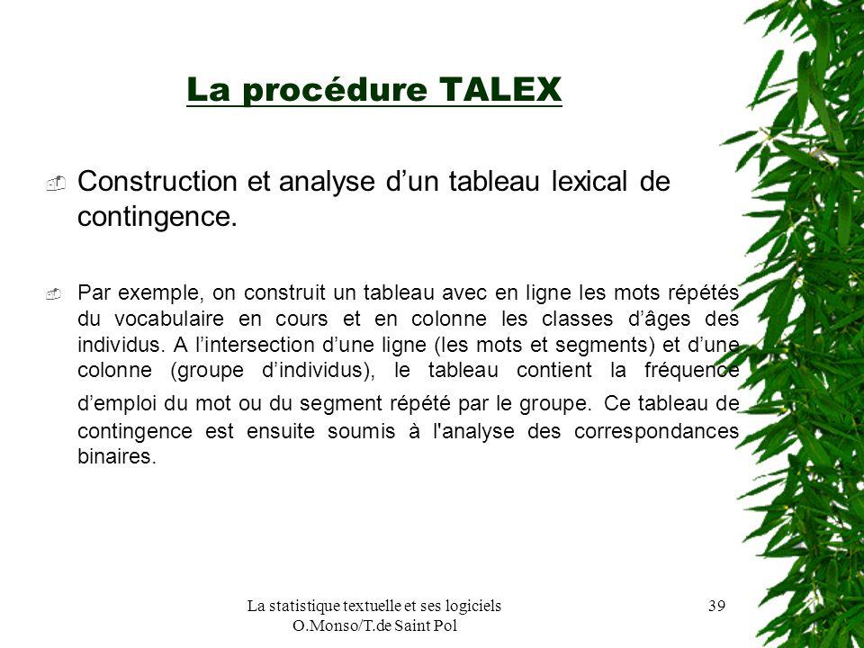 La statistique textuelle et ses logiciels O.Monso/T.de Saint Pol 39 La procédure TALEX Construction et analyse dun tableau lexical de contingence. Par