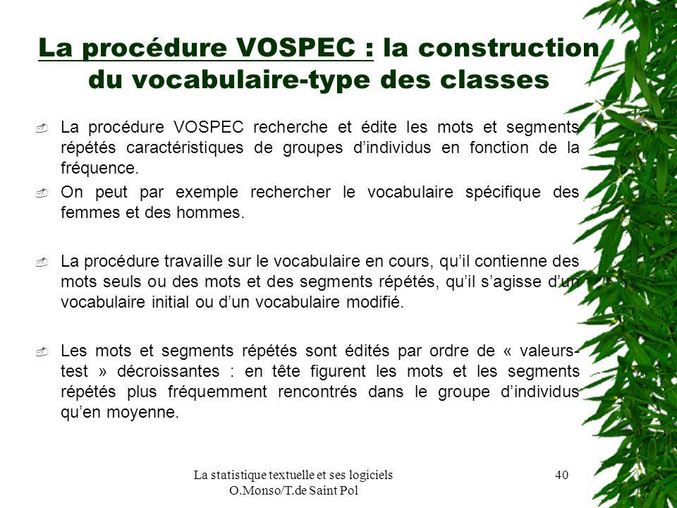 La statistique textuelle et ses logiciels O.Monso/T.de Saint Pol 40 La procédure VOSPEC : la construction du vocabulaire-type des classes La procédure