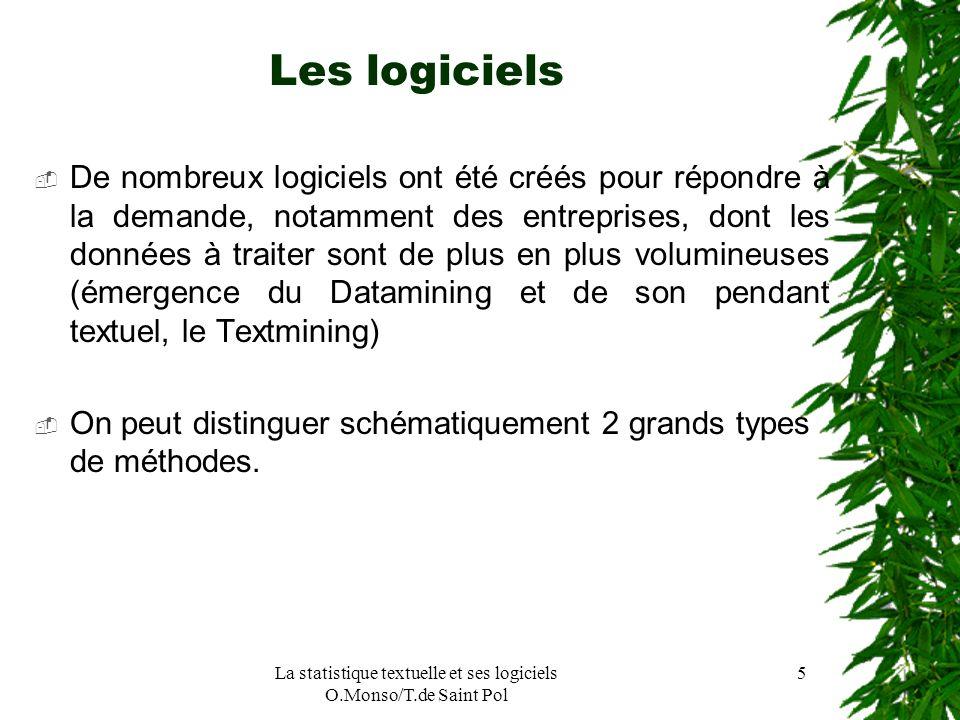 La statistique textuelle et ses logiciels O.Monso/T.de Saint Pol 5 Les logiciels De nombreux logiciels ont été créés pour répondre à la demande, notam