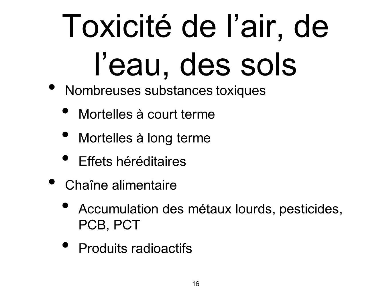 16 Toxicité de lair, de leau, des sols Nombreuses substances toxiques Mortelles à court terme Mortelles à long terme Effets héréditaires Chaîne alimen