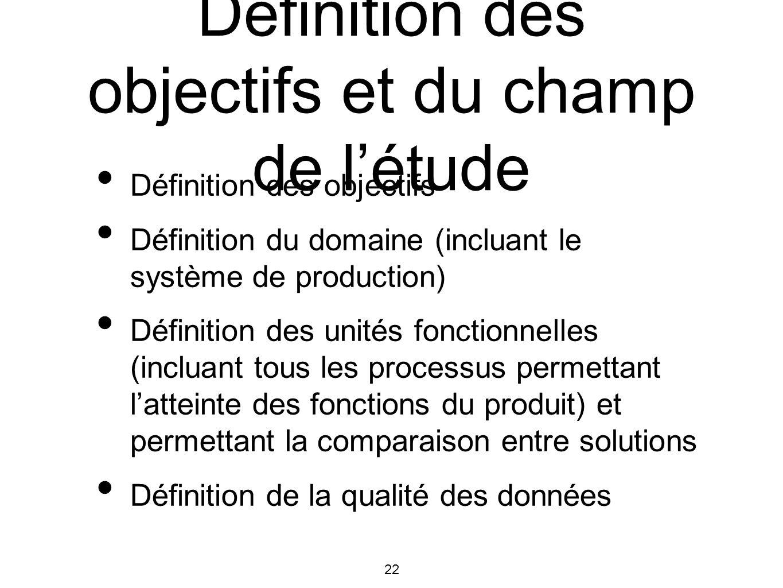 22 Définition des objectifs et du champ de létude Définition des objectifs Définition du domaine (incluant le système de production) Définition des un