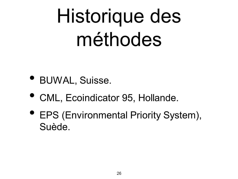26 Historique des méthodes BUWAL, Suisse. CML, Ecoindicator 95, Hollande. EPS (Environmental Priority System), Suède.