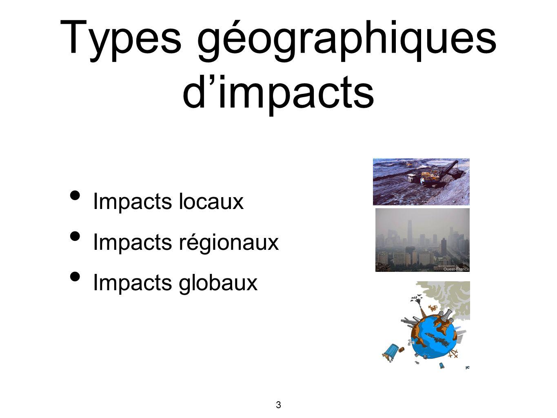 3 Types géographiques dimpacts Impacts locaux Impacts régionaux Impacts globaux