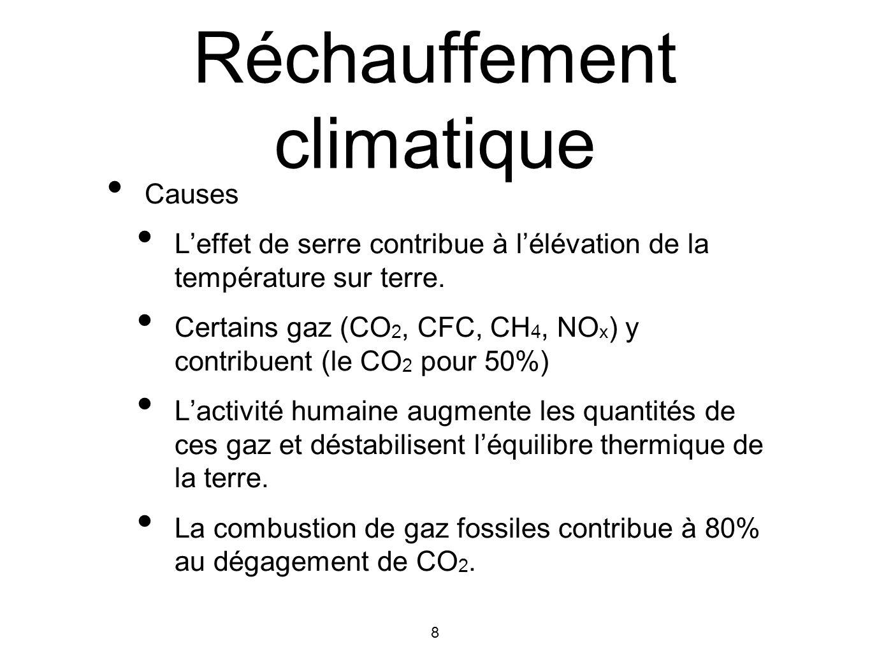 8 Réchauffement climatique Causes Leffet de serre contribue à lélévation de la température sur terre. Certains gaz (CO 2, CFC, CH 4, NO x ) y contribu