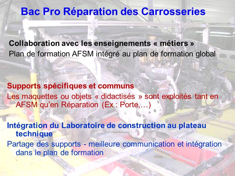 Bac Pro Réparation des Carrosseries Collaboration avec les enseignements « métiers » Plan de formation AFSM intégré au plan de formation global Suppor