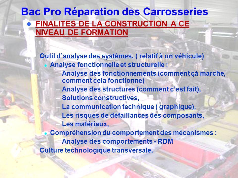 Bac Pro Réparation des Carrosseries Appréhender les systèmes relatifs à la carrosserie dun véhicule dun point de vue Réparation, maintenance SUPPORTS RELATIFS A LA SPECIALITE