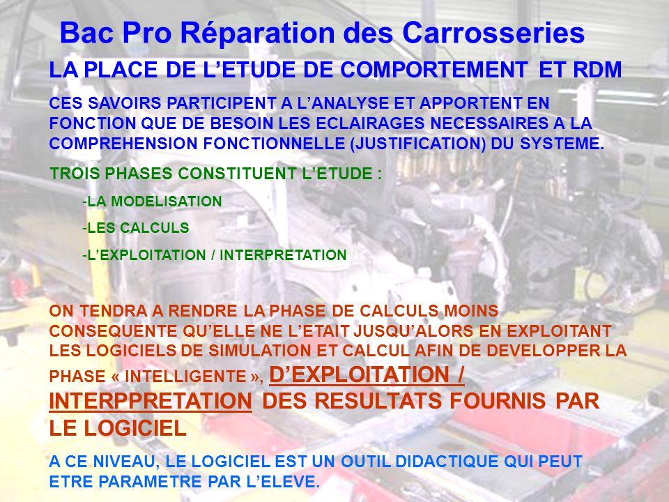 Bac Pro Réparation des Carrosseries LA PLACE DE LETUDE DE COMPORTEMENT ET RDM CES SAVOIRS PARTICIPENT A LANALYSE ET APPORTENT EN FONCTION QUE DE BESOI