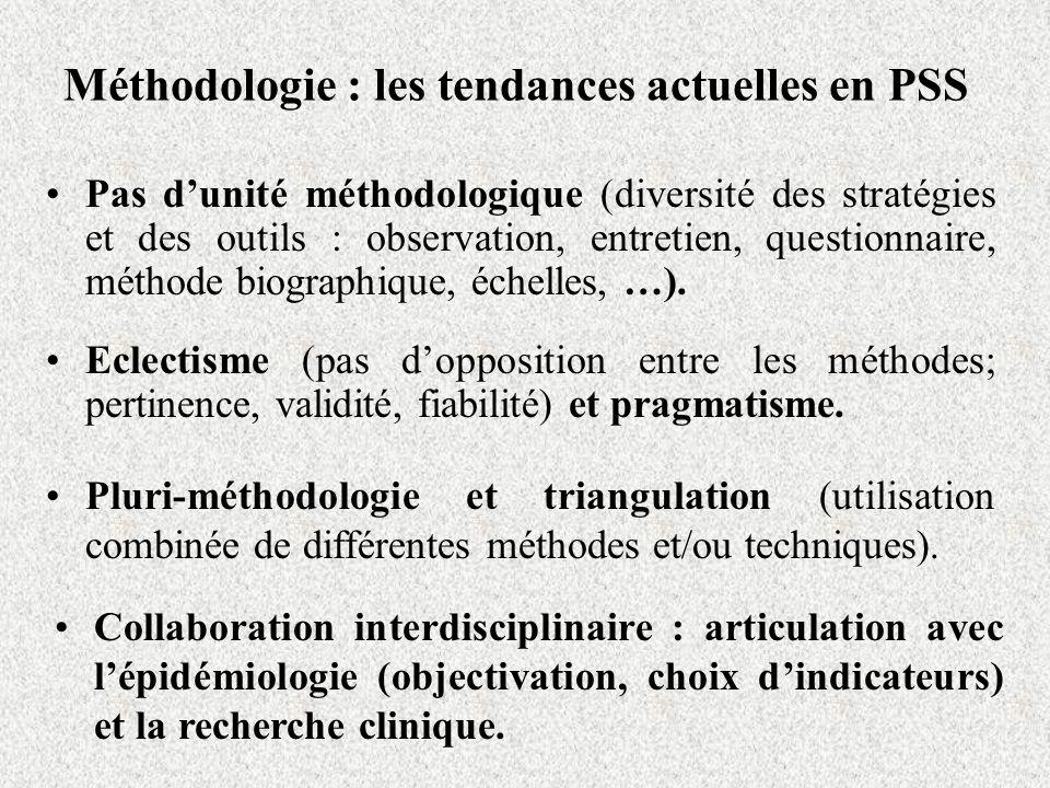Méthodologie : les tendances actuelles en PSS Eclectisme (pas dopposition entre les méthodes; pertinence, validité, fiabilité) et pragmatisme. Pluri-m