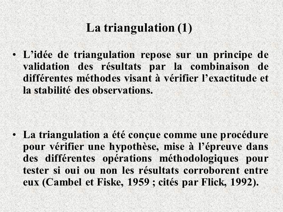 La triangulation (1) Lidée de triangulation repose sur un principe de validation des résultats par la combinaison de différentes méthodes visant à vér