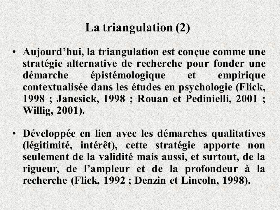 La triangulation (2) Aujourdhui, la triangulation est conçue comme une stratégie alternative de recherche pour fonder une démarche épistémologique et