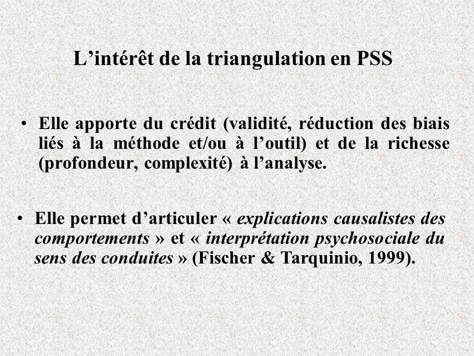 Lintérêt de la triangulation en PSS Elle apporte du crédit (validité, réduction des biais liés à la méthode et/ou à loutil) et de la richesse (profond