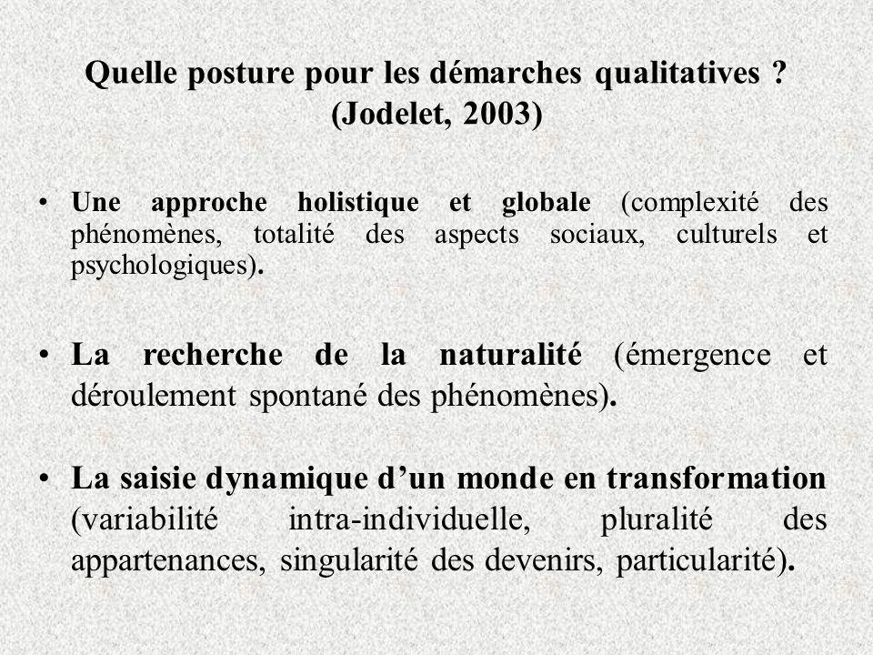 Quelle posture pour les démarches qualitatives ? (Jodelet, 2003) Une approche holistique et globale (complexité des phénomènes, totalité des aspects s