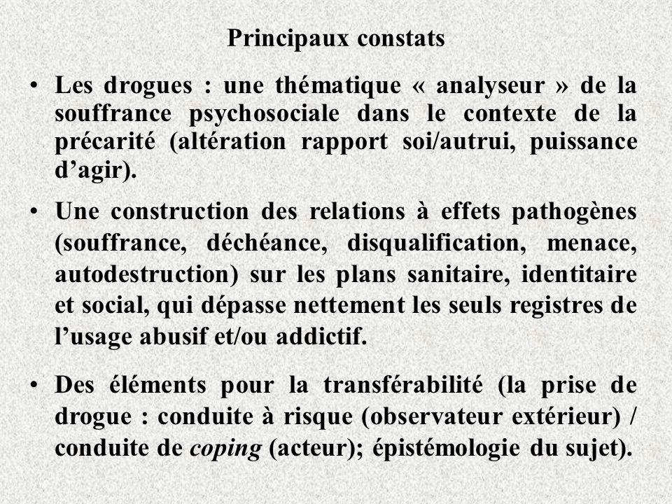 Principaux constats Les drogues : une thématique « analyseur » de la souffrance psychosociale dans le contexte de la précarité (altération rapport soi