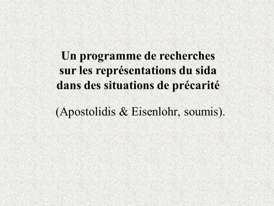 (Apostolidis & Eisenlohr, soumis). Un programme de recherches sur les représentations du sida dans des situations de précarité