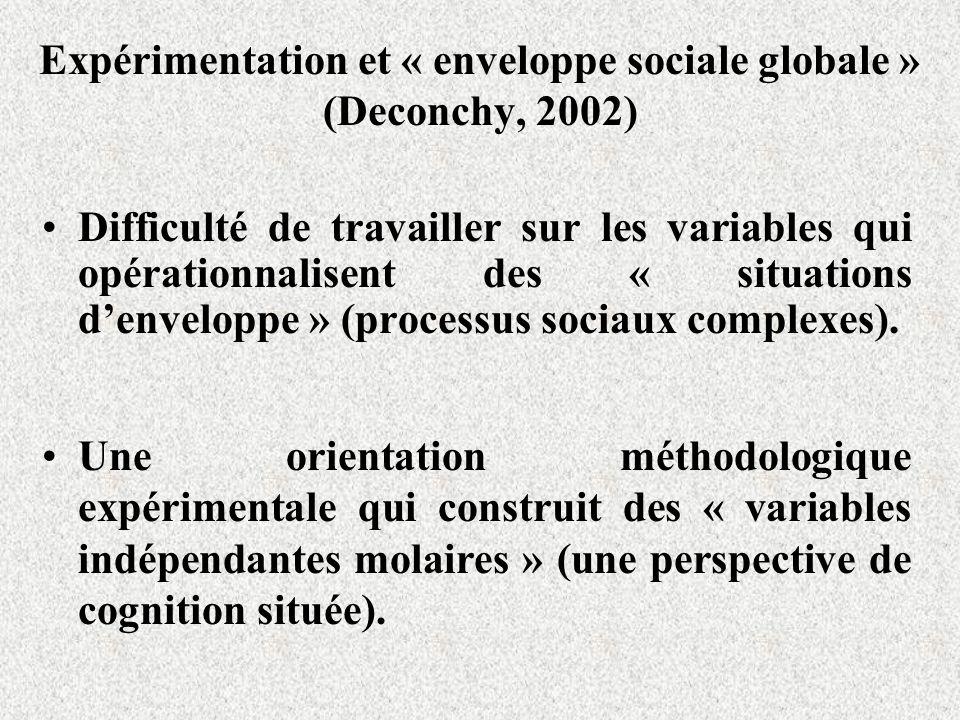 Expérimentation et « enveloppe sociale globale » (Deconchy, 2002) Difficulté de travailler sur les variables qui opérationnalisent des « situations de