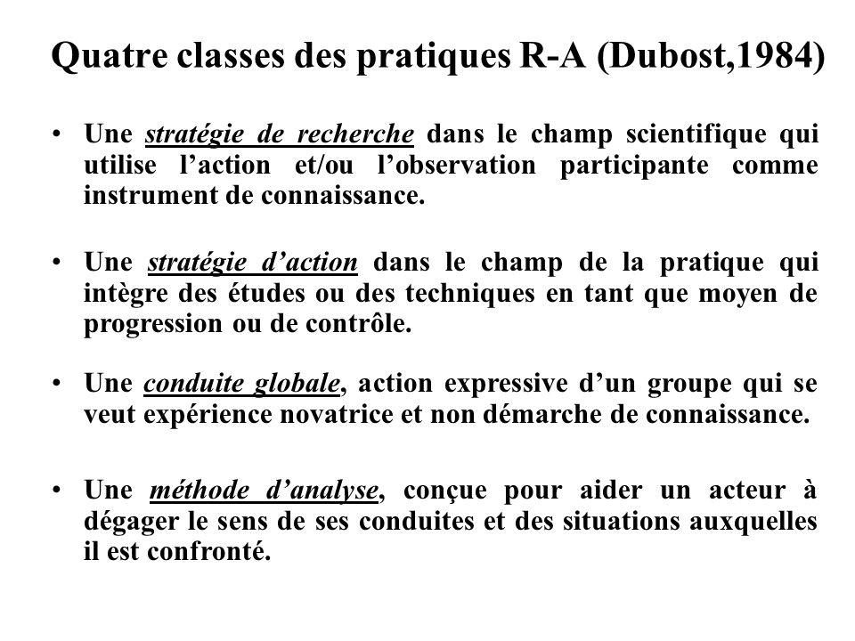 Quatre classes des pratiques R-A (Dubost,1984) Une stratégie de recherche dans le champ scientifique qui utilise laction et/ou lobservation participan