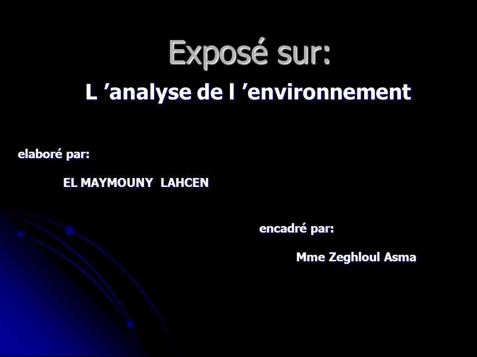 Exposé sur: L analyse de l environnement L analyse de l environnement elaboré par: EL MAYMOUNY LAHCEN EL MAYMOUNY LAHCEN encadré par: encadré par: Mme Zeghloul Asma Mme Zeghloul Asma