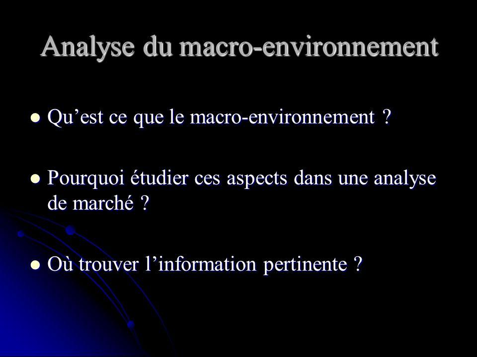 Déroulement de la séance... L analyse de l environnement: L analyse de l environnement: - environnement socio-démographique - environnement économique