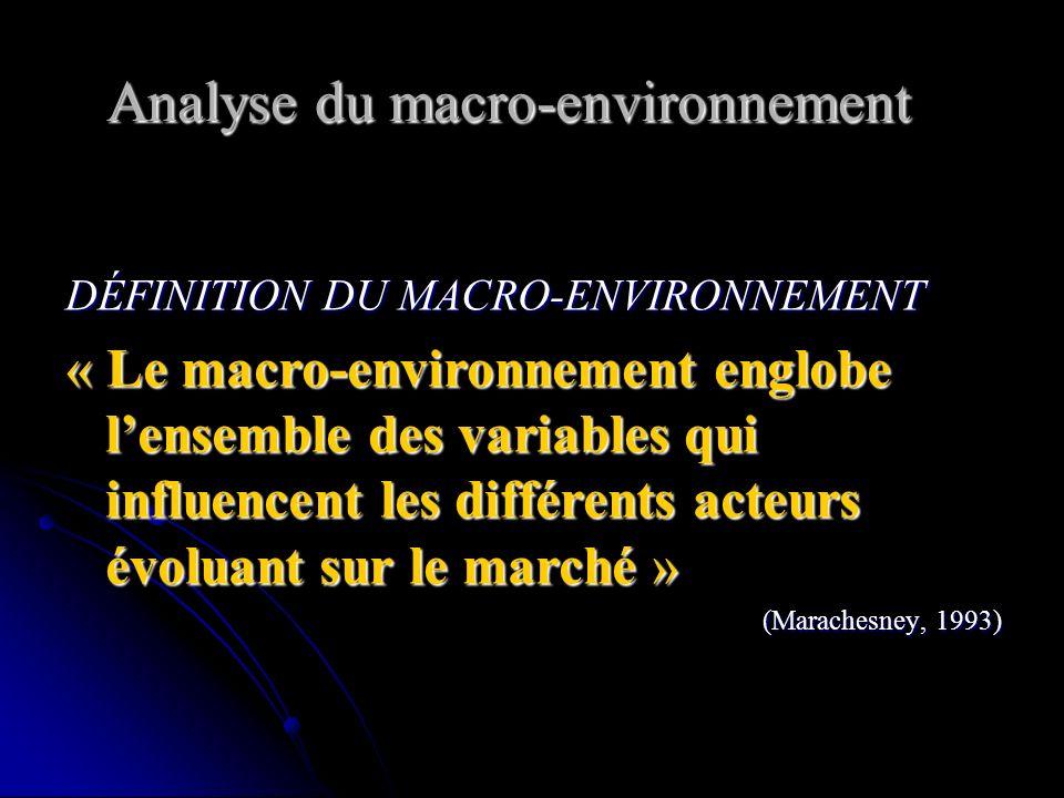 Analyse du macro-environnement DÉFINITION DU MACRO-ENVIRONNEMENT « Le macro-environnement englobe lensemble des variables qui influencent les différents acteurs évoluant sur le marché » (Marachesney, 1993)