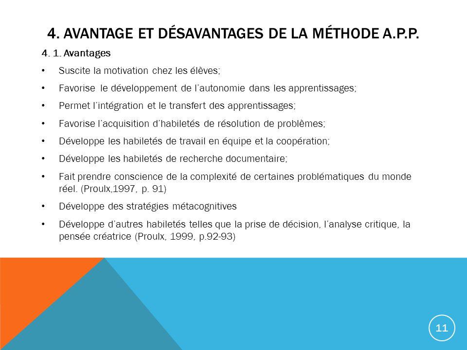 4.AVANTAGE ET DÉSAVANTAGES DE LA MÉTHODE A.P.P. 4.