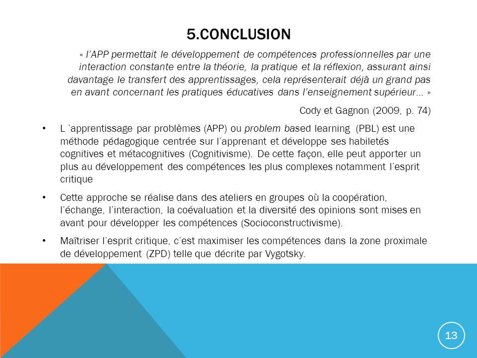 5.CONCLUSION « lAPP permettait le développement de compétences professionnelles par une interaction constante entre la théorie, la pratique et la réflexion, assurant ainsi davantage le transfert des apprentissages, cela représenterait déjà un grand pas en avant concernant les pratiques éducatives dans lenseignement supérieur… » Cody et Gagnon (2009, p.